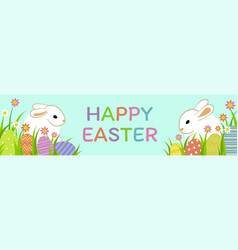 Easter eggs with grass vector