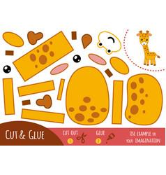 education paper game for children giraffe vector image