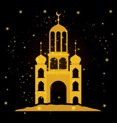 Eid mubarak temple facade with moon vector