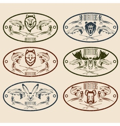 Fishing and hunting grunge vintage labels set vector