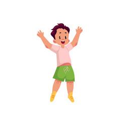 flat cartoon boy jumping smiling vector image