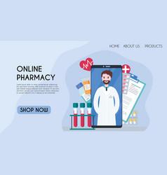 Flat for online pharmacy vector