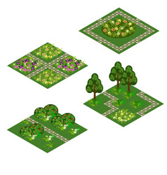 garden isometric asset for design landscape in vector image