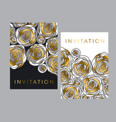 gold and gray hand drawn rose motif for header vector image
