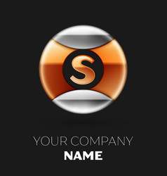 golden letter s logo in silver-golden circle vector image