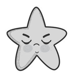 Grayscale kawaii angry star with close eyes vector