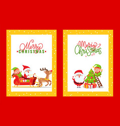 greeting cards with holiday spirit and cartoon vector image
