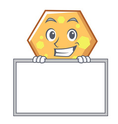 grinning with board hexagon character cartoon vector image