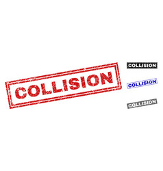 Grunge collision scratched rectangle watermarks vector