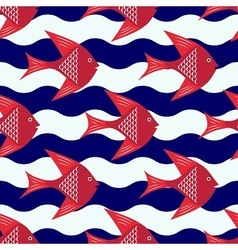 Happy fish pattern vector image