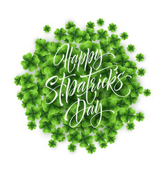 happy saint patricks day greeting lettering on vector image
