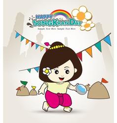Happy Songkran Day Young asian girl vector image