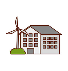 house with windmill for energy sustainable vector image