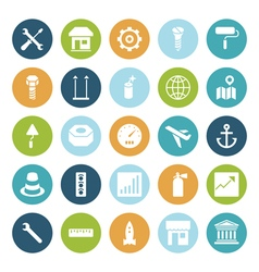 Icons plain circle industrial vector