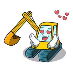In love excavator mascot cartoon style vector