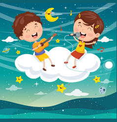 kids making music on cloud vector image