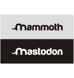 letter m with elephant ivory mastodon mammoth logo vector image