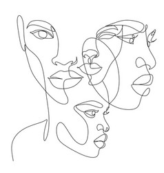Line art woman face drawing black woman afro vector