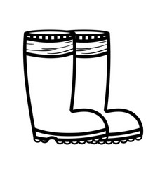 line rubber boots object to protection feet vector image