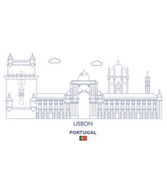 lisbon city skyline vector image