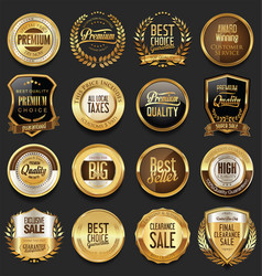 luxury retro badges gold and silver collection 1 vector image vector image