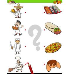 Match chefs and food educational game vector