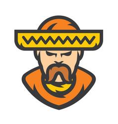 mexican man in sombrero cartoon vector image