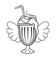 mlik shake icon black and white vector image