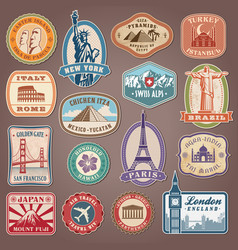 Monument labels set vector