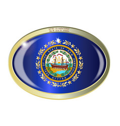 new hampshire state seal oval button vector image
