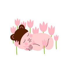 newborn baby in bear cap sleeping in spring vector image