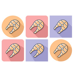 outlined icon of grilled fish piece with parallel vector image