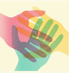 overlapping colorful hands concept poster vector image