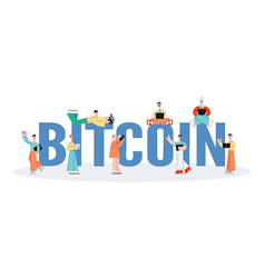 people use bitcoin via digital devices set vector image