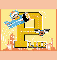 plane cartoon with cute pilot on building vector image