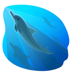 Playful dolphin swimming in blue deep sea and his vector