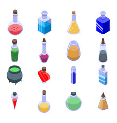 Potion icons set isometric style vector