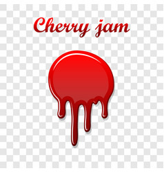 red cherry drip confiture 3d berry sweet jam spot vector image