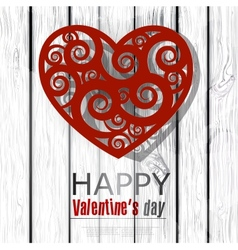 Red handmade heart on wooden background Valentines vector