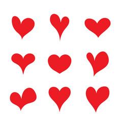 red set heart shapes flat heart symbol sticker vector image