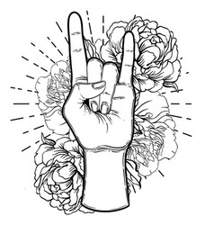 rock and roll sign hand drawn vector image