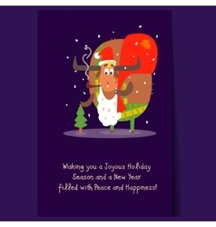 Santa Bull with Beard and Sack Christmas vector image