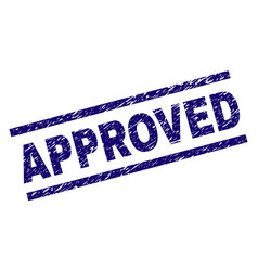 Scratched textured approved stamp seal vector