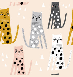 seamless childish pattern with funny leopards vector image