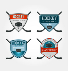 set colorful hockey logos vector image