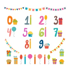 Set of birthday party design elements with numbers vector