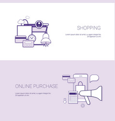 set of shopping online purchase banners business vector image