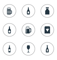 Set of simple drinks icons vector