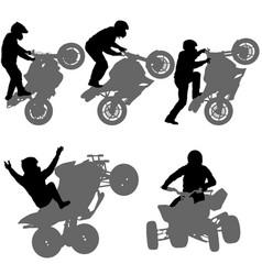 Set silhouettes rider participates motocross vector