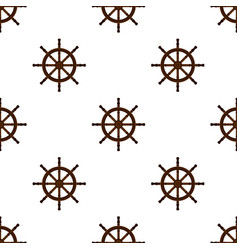 Ship handwheel helm marine seamless pattern vector